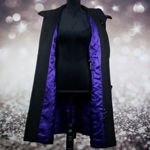 Kenneth Cole Royal Purple Lined Black Wool Coat